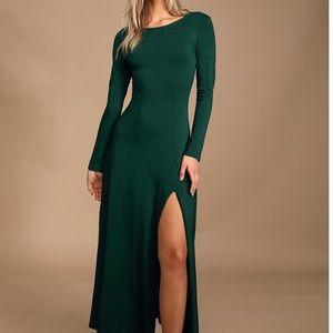 Dark Green long sleeve maxi dress